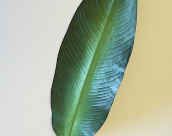 "Tropical Bird of Paradise Leaf, Artificial, Faux, Tropical Leaf, Faux Tropical Leaf, Home Decor- 38"" Tall"