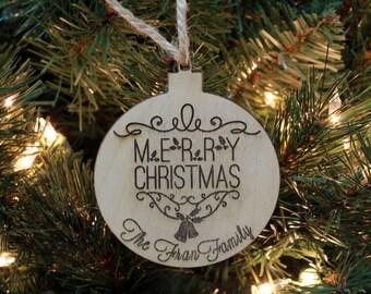 Christmas Ornament, Personalized Ornament, Custom Christmas Ornament, Wood Engraved Ornament, Custom Wood Ornaments, --ORN-WOOD-FRAN