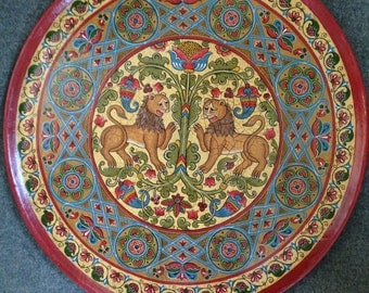 """Russian folk art.Wooden painted collectible plate, ancient Russian style,""""Lions and The Tree of Life"""""""