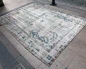 "6'8"" x 9'5"" GRAY w/ BLUE Accents Antique Overdyed Turkish Oushak Rug. Vintage decorative area rug."