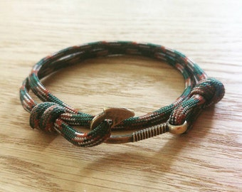 Custom Paracord Fish Hook Bracelet - PGUK - Wrap Bracelet - Antique Bronze Hook - 77 Colours - Mens Bracelet - Womens Bracelet - Unisex