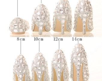 Stylish Womens Bling Luxury Rhinestone Bride Dress Wedding Beautiful Shoes with personalized exclusive signature design