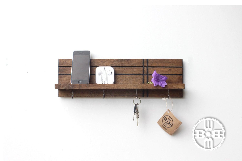 Long Foyer Key : Modern shelf with key hooks entryway organizer