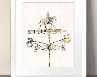 WEATHERVANE Silhouette Paper Art Print Picture Size A3 A2 A1 Vintage Antique Illustration Weather Vane Cottage Farm Wind House Countryside