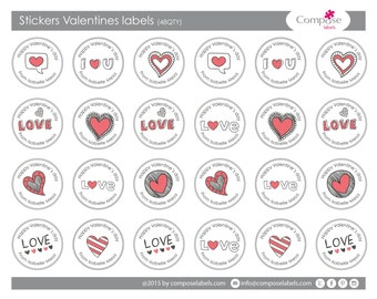 Your Valetine's day present labels (48 qty) Free Shipping