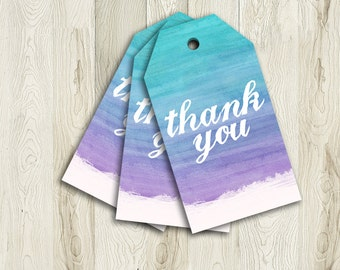 Printable Ombre Thank You Tags, Baby Shower Tags, 4x2.25, Instant Download, Purple and Turquoise