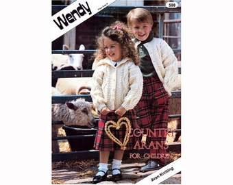 Genuine Vintage WENDY 598  'Country Arans For Children' 20 Pages Knitting Pattern Booklet Lots to makex
