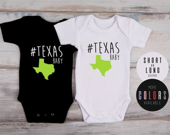 Baby Shower Gift, HASHTAG TEXAS BABY Bodysuit, Texas Baby Boy Outfit, Texas Baby Girl Clothing, Cool Baby Gift, More Colors Available