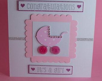 New Baby/Baby Shower Handmade Pram card, new baby boy card, new baby girl card, baby pram card, new baby congratulations