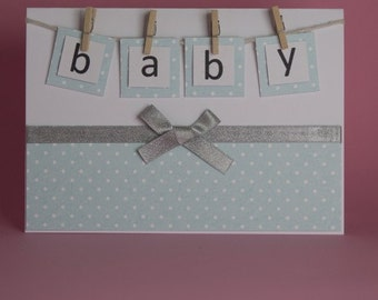 Alphabet Baby Handmade New baby card, Baby Shower card, baby boy card, baby girl card, baby on pegs card, new baby congratulations card