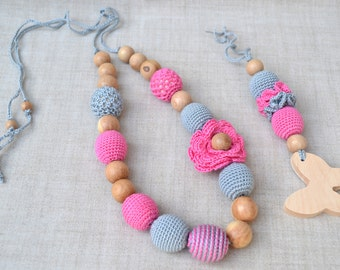 Pink Gray Set Nursing Necklace Teether Breastfeeding Necklace Teething necklace Crochet beads Juniper beads First toy Cotton Crochet Bead