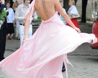 Designer dress, silk gown, silk chiffon dress, floor length dress, bridemaid dress, evening gown, maxi dress, backless prom dress.