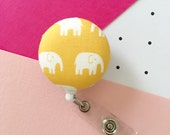 Yellow Elephants Retractable ID Badge Reel - FREE SHIPPING with another purchase - Name Badge, Tag, Nurse , Teacher Badge Holder