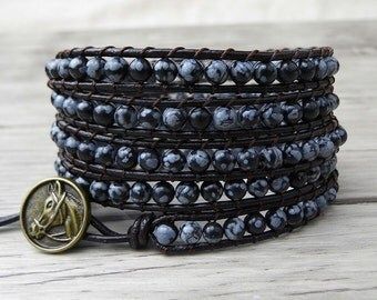 Leather Wrap Bracelet Boho Wrap Bracelet 5 rows Yoga Beads Bracelet black Snowflake Natural Stone Beaded Bracelet Bohimian Jewelry SL-0037
