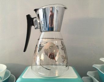 Vintage MCM Coffee or Tea Carafe Silver Leaves