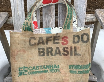 Large Burlap Coffee Bag Tote - White with Light Blue, Gray, and Red Floral