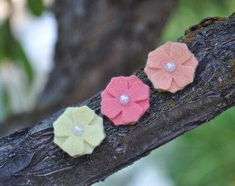 Felt Flower Headband - Felt Hydrangea on Skinny Elastic or Nylon Headband - newborn - baby - toddler - child
