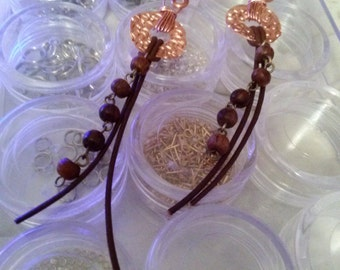 Hammered Dangling Copper and Leather Earrings