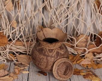 Carved coconut souvenir - 1970s decoration - Decorative bowl coconut -  Bowl rustic bowl -Coconut shell