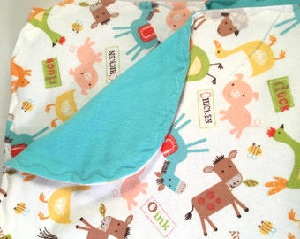 Farm Animals Swaddle Blanket-Double sided Flannel Receiving Blanket-Flannel Swaddle Blanket- Farm Animals Receiving Blanket-Pigs-Cows-Sheep