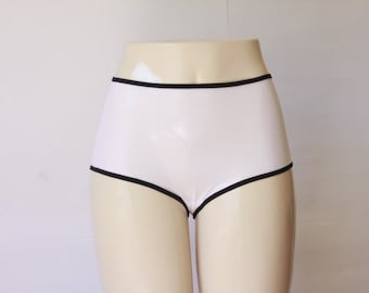 White High Waisted Sheer Mesh Panties: White Panties, White Lingerie, Retro Lingerie, High Waist Panties, Black and White Lingerie, Knickers