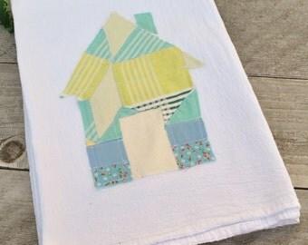 Flour Sack Dish Towel with Vintage Quilt Applique
