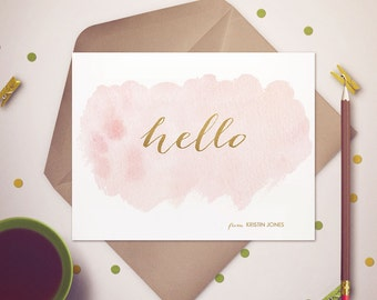 Hello Personalized Folded Card Stationary