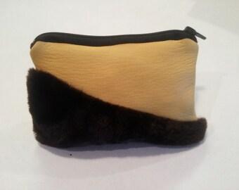 leather coin purse, fur coin purse, fur coin pouch, leather coin pouch, rustic coin pouch