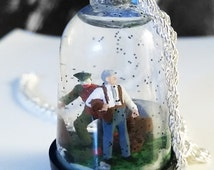 Miniature Snow Globe Necklace - Picnic in a graveyard during the zombie apocalypse