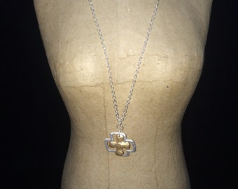 Gold and Silver Layered Cross Necklace