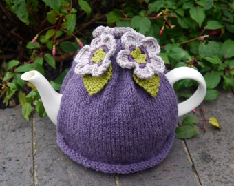 Hand Knitted Teacosy With Purple Flowers and Green Leaves