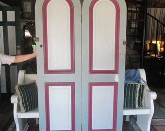 Antique Pair Arch Wooden Doors From Balcony of Local Victorian Home.  Designers Must See. Will Ship Only If Arranged Prior To Purchase.