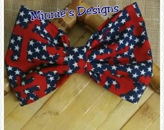 Nautical hair bow, fabric bow, anchor bow ,sail hair bow, Cruise hair bows, Anchor Bow, Anchor hair bow