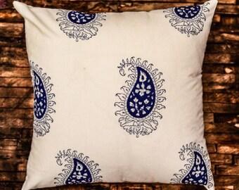 Blue Block Print Paisley Cushion Cover