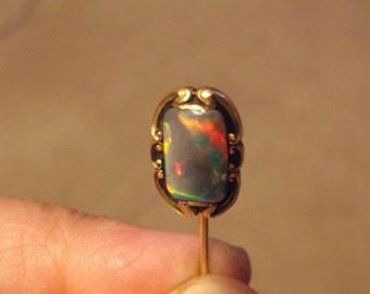 Pretty Antique 14ct Gold Australian Solid Black Opal Hatpin