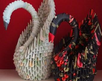 Origami floral Wallpaper Swan