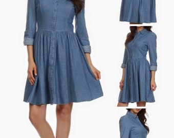 Denim Fit & Flare Button Down Dress