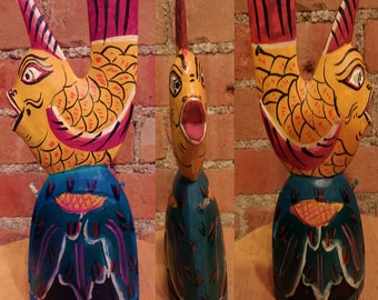 Wooden Tiki South Seas Bell Fish by Handcarved Indonesia