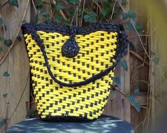 Yellow and Black Beach Bag or Purse