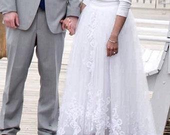 Olivia Palermo inspired high low slit  wedding skirt / Olivia bridal skirt / Inspired Olivia Palermo wedding dress / detachable brid