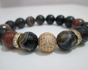 Agate faceted ,  Agate bracelet semi-precious stones,Woman bracelet,Gemstone bracelet,Gift,Gift for her