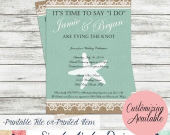 Beach Wedding Invitation - Burlap and Lace Beach Wedding Invitation