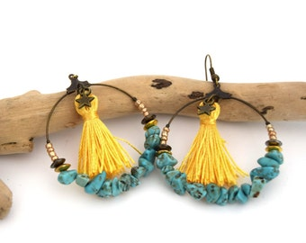 Creole chips of turquoise and yellow Pompom, jewellery boho chic turquoise and yellow