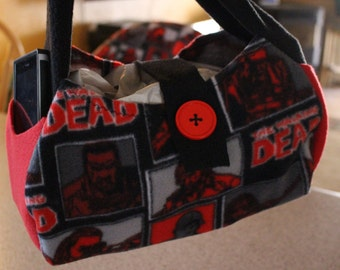 NFL, Walking Dead, Camo, & Character fleece hobo totes.  The totes shown are made and ready to ship!