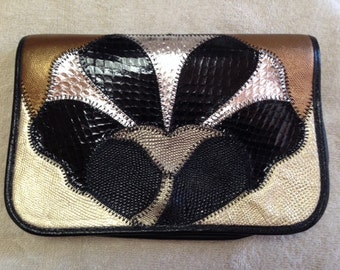 Furst & Mooney  Clutch Evening Bag - Bronze, Gold, Silver, and Black - Snake and Lizard Skins