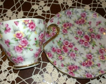 Pink Chintz Teacup and Saucer
