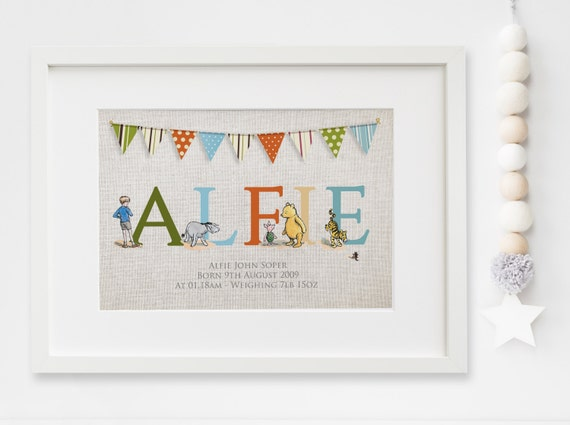 Winnie the pooh lexis little prints gift 1011 personalised new babychild boygirl winnie the pooh quote nursery birth name print negle Image collections