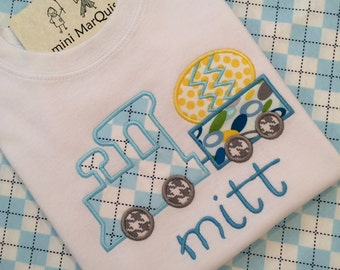 Appliqued Train With Easter Egg Tshirt, includes Applique and Personalization