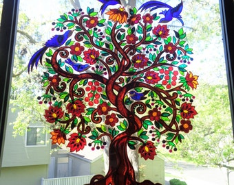 "Tree of life art 15""x15""Glass painting Glass art Wall decor Bohemian decor"