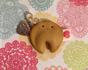 Kawaii Polymer Clay Fortune Cookie Charm